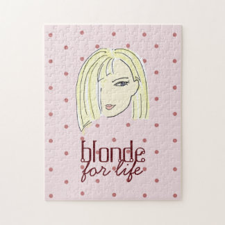 Puzzle Cool rose de bande dessinée de fille de pois blond