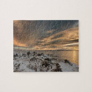 Puzzle Coucher du soleil au-dessus de lac Myvatn, Islande