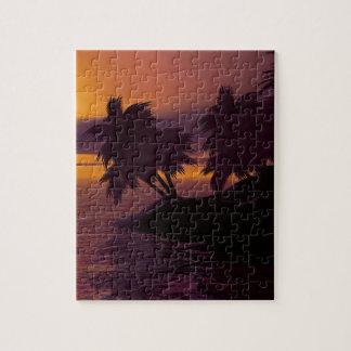 Puzzle coucher du soleil de paumes de plage de vacances