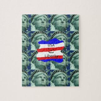 Puzzle Couleurs de drapeau des Etats-Unis avec la statue