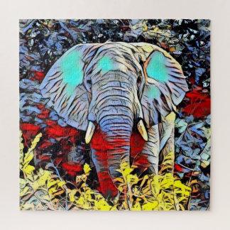Puzzle Coup-de-pied de couleur - éléphant