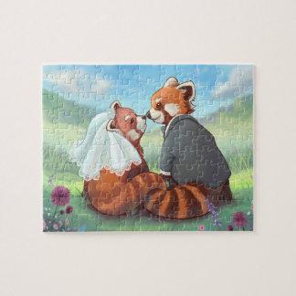 Puzzle Couples mignons de panda rouge dans l'amour