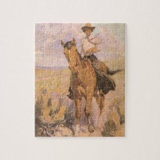 Puzzle Cowboy vintage de cow-girl, femme sur le cheval