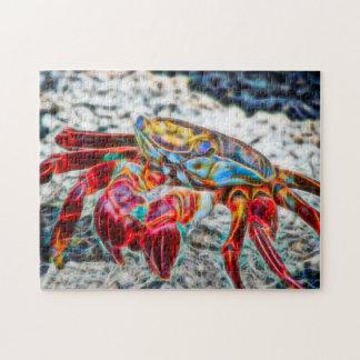 Puzzle Crabe sur la fractale du feu rouge de vie marine