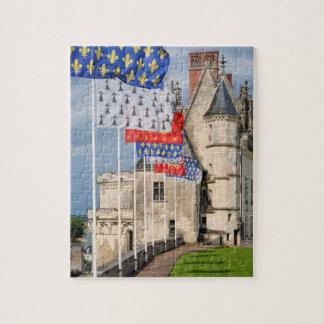 Puzzle d'Amboise de château et drapeau, France