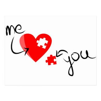Puzzle d'amour cartes postales