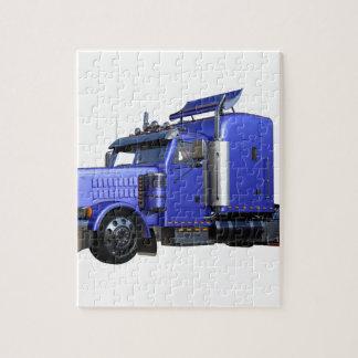 Puzzle De bleu camion de remorque métallique de tracteur