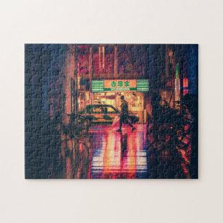 Puzzle de Cyberpunk, scène fraîche de rue du Japon