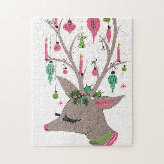 Puzzle de fête de rétro renne vintage de Noël