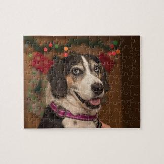 Puzzle de Noël de chien de chasse de marcheur de