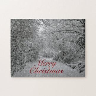 Puzzle de Noël de scène de neige d hiver
