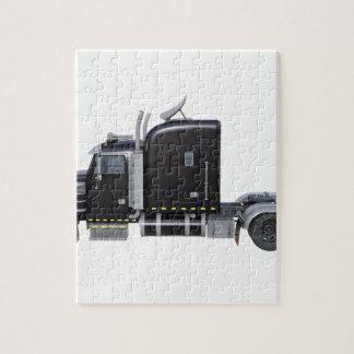 Puzzle De noir remorque de tracteur semi dans le profil