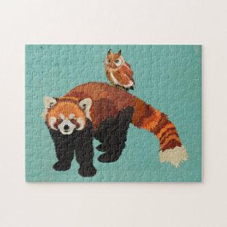 Puzzle de panda rouge et de hibou