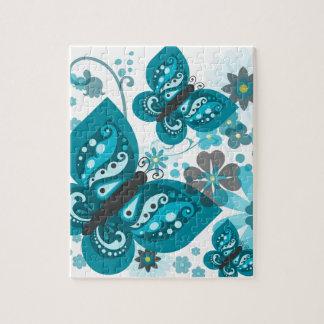 Puzzle de papillons et de fleurs (bleu)