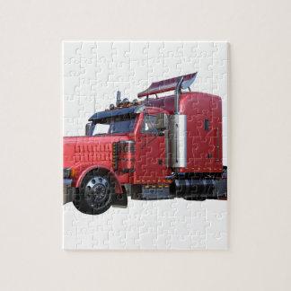 Puzzle De rouge camion métallique de Traler de tracteur