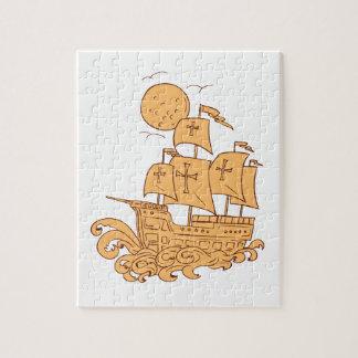 Puzzle Dessin de lune de bateau de navigation de