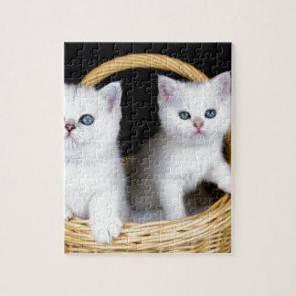 Puzzle Deux chatons blancs dans le panier sur