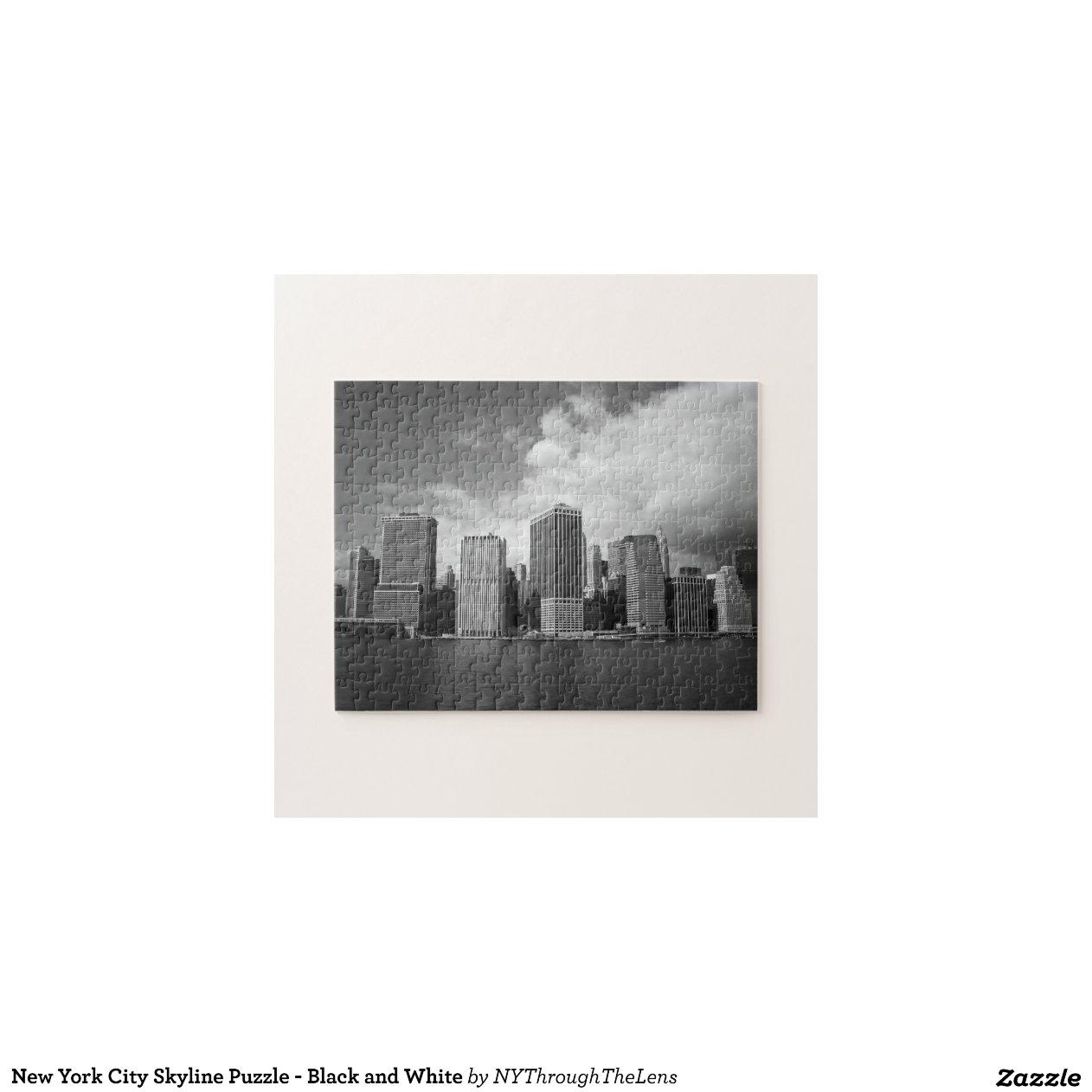 Puzzle d 39 horizon de new york city noir et blanc zazzle for Credence new york noir et blanc