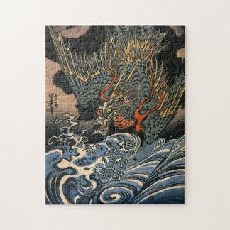 Puzzle Dragon d'Utagawa Kuniyoshi plongeant dans l'eau