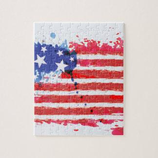 Puzzle drapeau américain grunge d'aquarelle