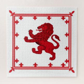 Puzzle Drapeau/bouclier effrénés rouges de lion de