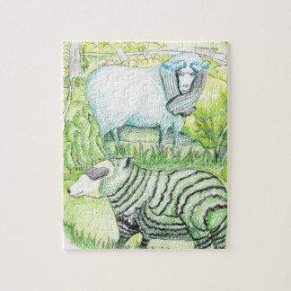 Puzzle drawing_sheep sur la colline