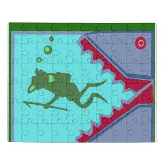 Puzzle Eau de mer de nageur de bain de requin de poissons