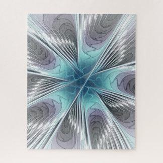 Puzzle Élégance, fleur bleue moderne de fractale de blanc