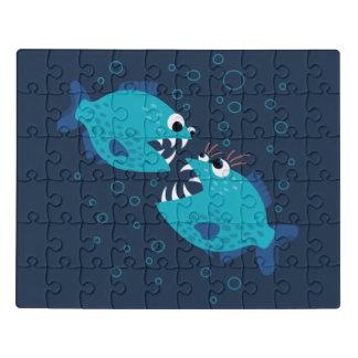 Puzzle Enfants bleus bavards de poissons de piranha