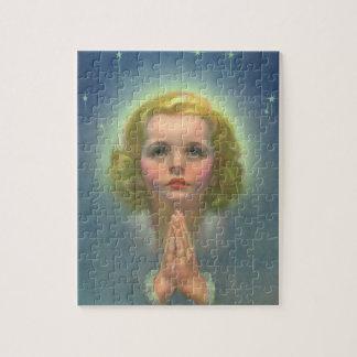 Puzzle Enfants religieux vintages, fille avec la prière