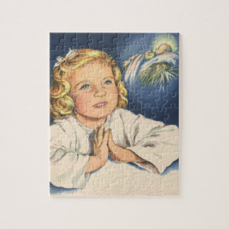 Puzzle Enfants vintages, fille mignonne priant à Jésus