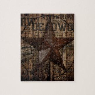 Puzzle Étoile solitaire en bois du Texas de pays