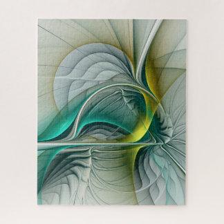 Puzzle Évolution de fractale, art abstrait de turquoise