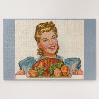Puzzle femme au foyer fière avec sa création de dîner