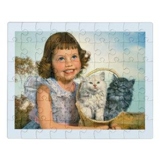 Puzzle Fille avec des chatons