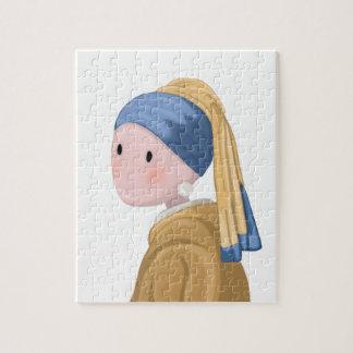 Puzzle Fille avec une boucle d'oreille de perle