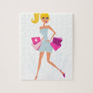 Puzzle Fille modèle blonde avec des points et le rose
