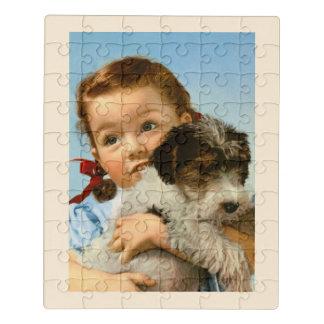 Puzzle Fille tenant le chien