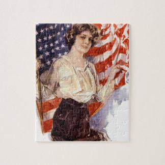 Puzzle fille vintage de drapeau américain