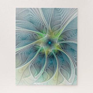 Puzzle Fleur moderne de fractale de vert bleu