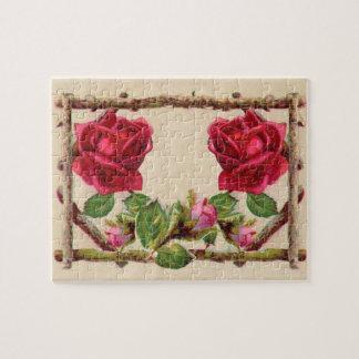 Puzzle Fleur rustique antique de cru de roses