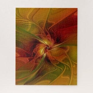 Puzzle Fleur verte orange rouge abstraite d'art de