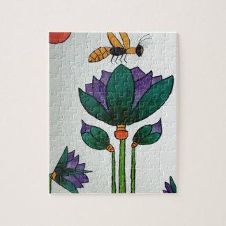 Puzzle Fleurs de Lotus avec l'abeille