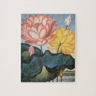 Puzzle Fleurs de Lotus vintages avec le feuille dans un