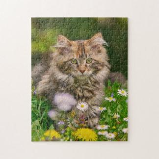 Puzzle Fleurs mignonnes de chat de chaton de ragondin du
