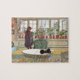 Puzzle Fleurs sur le rebord de fenêtre par Carl Larsson