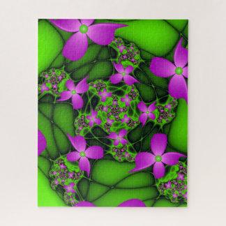 Puzzle Fleurs vertes roses au néon abstraites modernes de