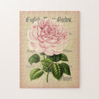 Puzzle floral féminin vintage de fleur rose