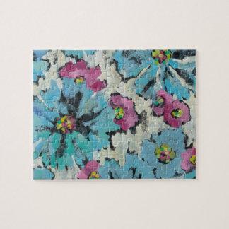 Puzzle Floral rose et bleu graphique