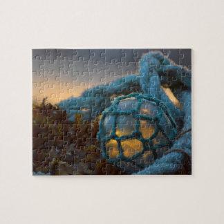 Puzzle Flotteur en verre de pêche, coucher du soleil,